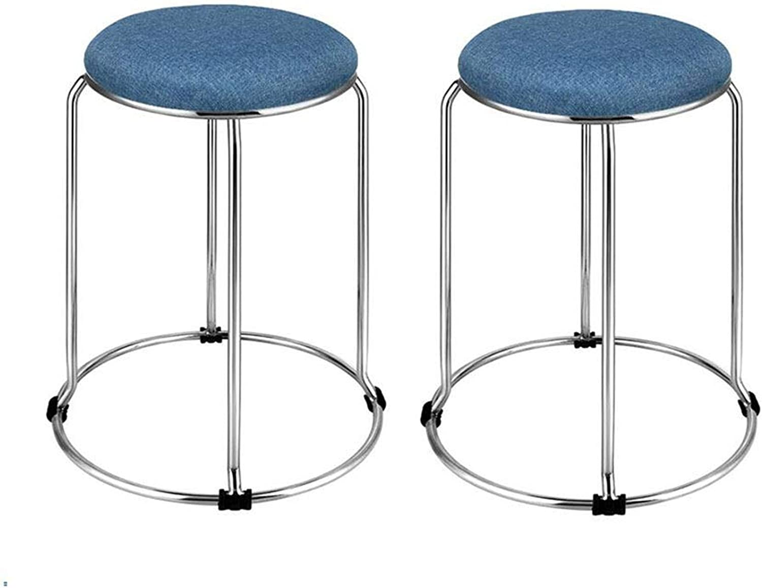 QIQI-LIFE 2 Pack- Deluxe Fabric Padded Stackable Stainless Steel Stools,Home Dining Stool (color   07)