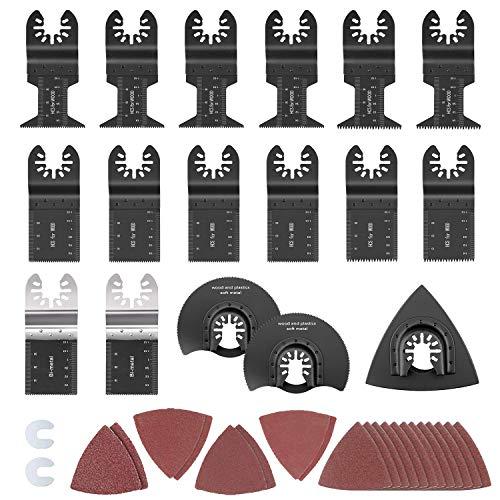 HIRALIY 35 teilig Sägeblätter Kit Mix Klingen Multitool Oszillierwerkzeug-Zubehör Professionelles Holzbearbeitungsset für Bosch, Fein Multimaster, Milwaukee, Einhell