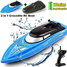 SZJJX 2 in 1 RC Boat, Remote Control Racing Boats for Pools and Lakes Pond Garden, 10km/H 2.4G Mini Speed Boat with Disassembled Simulation Crocodile Head Spoof Toy Blue