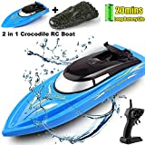 SZJJX 2 in 1 RC Boat, Remote Control Racing Boats for Pools and Lakes Pond Garden, 10km/H 2.4G Mini Speed Boat...