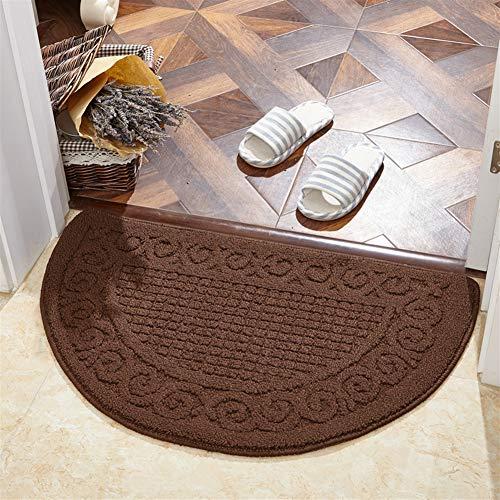 Insun Badteppiche Fußmatte Saugstark Halbrund rutschfest Teppich für Wohnzimmer Küche Badezimmer Braun 40x63cm