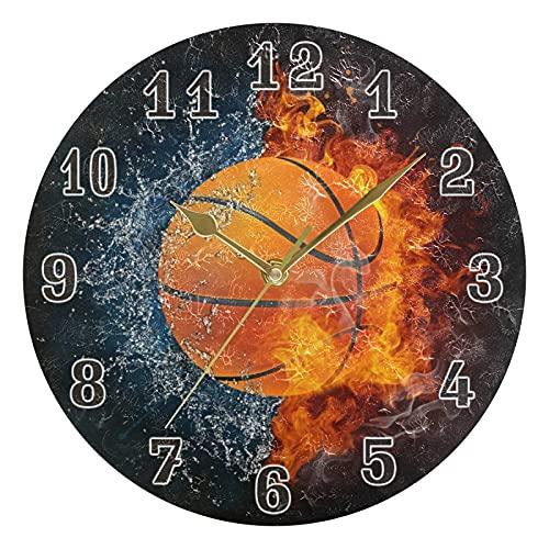 Lewiuzr Reloj de Pared Deporte Baloncesto silencioso Reloj Redondo sin tictac para el hogar Sala de Estar Cocina Oficina Escuela decoración