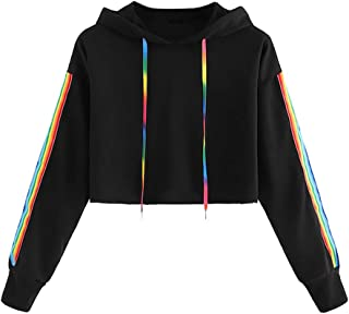 Women's Letter Print Long Sleeve Rainbow Crop Top Hooded Sweatshirt Hoodies Sweatshirt Tops Outwear for Teen Girls