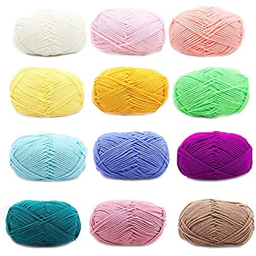 MY99 USHOMI 12 hilos de algodón mini color caramelo 5 hilos de hilo de lana para bebé DIY hilo de...