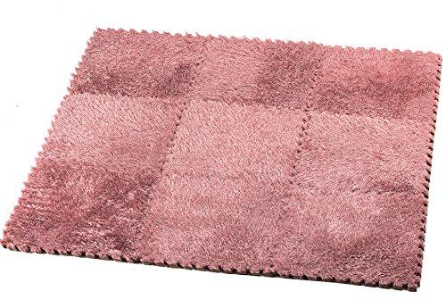 HemingWeigh Fuzzy Area Rug - 9 Fluffy Carpet Tiles for Kids - Ideal for Nursery D