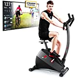 Sportstech Exercise Bike ESX500 with smartphone app control + Google Street View, 12KG inertia, pulse belt compatible – fitness bike hometrainer with low-noise belt drive