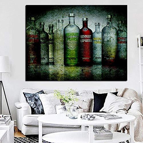 CYACC Digit Print Absolute Vodka Flaschen Grunge Ölgemälde auf Leinwand Wandbild Kunst Poster für Wohnzimmer Home Sofa Bild Dekor, 50x70 cm