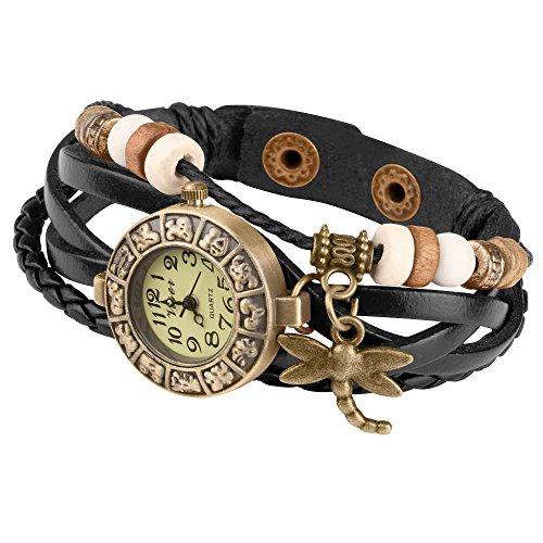 Taffstyle Damen-Armbanduhr Analog Quarz mit Leder-Armband Geflochten Charms Anhänger Uhr Retro Vintage Libelle Gold Schwarz