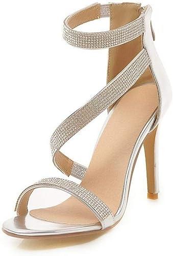 zapatos De Tacón Europa Y América para mujer PU Moda 10 Cm Salvaje Y Cómoda Discoteca con Cuentas Decorativas Sandalias De Tacón Alto