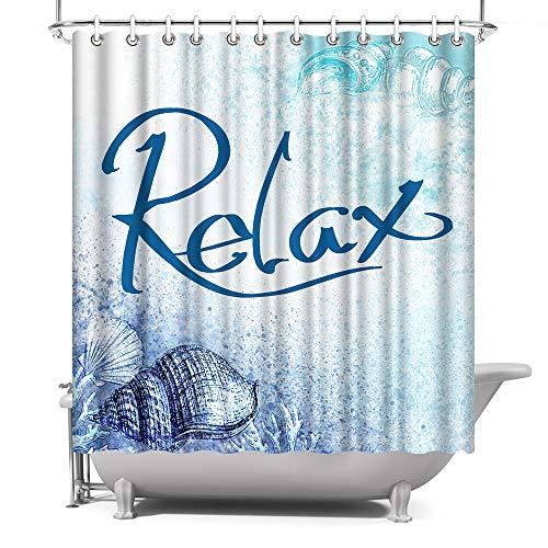 Relax Duschvorhang, Ozeanblau, Badezimmer-Dekoration, 183 x 183 cm, wasserdichtes Polyestergewebe mit Haken