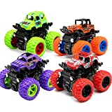 Toy Cars for Boys, 4 Pack Push Cars for Toddlers, 360 Degree Rotation 4 Wheels Drive Durable Friction Powered Car Toys for Kids Birthday Party, Gift for 3 4 5 6 7 8 Year Old Boys Girls, Cake Topper