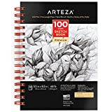 Arteza 5.5x8.5 Inch Sketch Book, 100 Sheets (68 lb/100gsm), Spiral Bound Pad, Durable Acid Free Drawing Paper, Art Supplies for Kids & Adults, Bright White