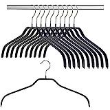 MAWA Silhouette - Grucce adatte per vestiti con colletto come camicie e camicette, 10 pezzi, salvaspazio, gancio girevole a 360°, con rivestimento antiscivolo non inquinante, 41 cm, Nero