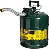 Justrite 7250430 AccuFlow 5 Gallon, 11.75' OD x 17.50' H Galvanized Steel Type II Green Safety Can With 1' Flexible Spout