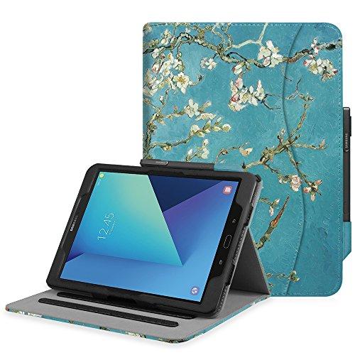 Fintie Hülle für Samsung Galaxy Tab S3 T820 / T825 (9,68 Zoll) Tablet - Multi-Winkel Betrachtung Kunstleder Schutzhülle Hülle mit Dokumentschlitze & Auto Schlaf/Wach Funktion, Mandelblüten