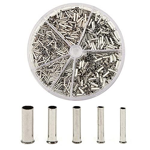 Kaimeilai Juego de casquillos para cable, 1900 unidades, surtido de casquillos de cable sin aislar con cajas surtidas, 0,5/0,75/1,0/1,5/2,5 mm²