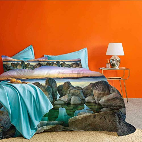 Lake 3 Piece Duvet Cover Bedding Sets Various Sized Condensed Rocks in River at Evening Time When Lamps Down Marine Theme Best Material/Highly Durable Grey Green Matching 2 Pillow Shams Cal King