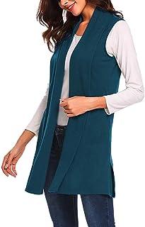 Women Vest Long Coat, Ladies Solid Sleeveless Lightweight Open Front Cardigan Tank Tops Jacket Coat
