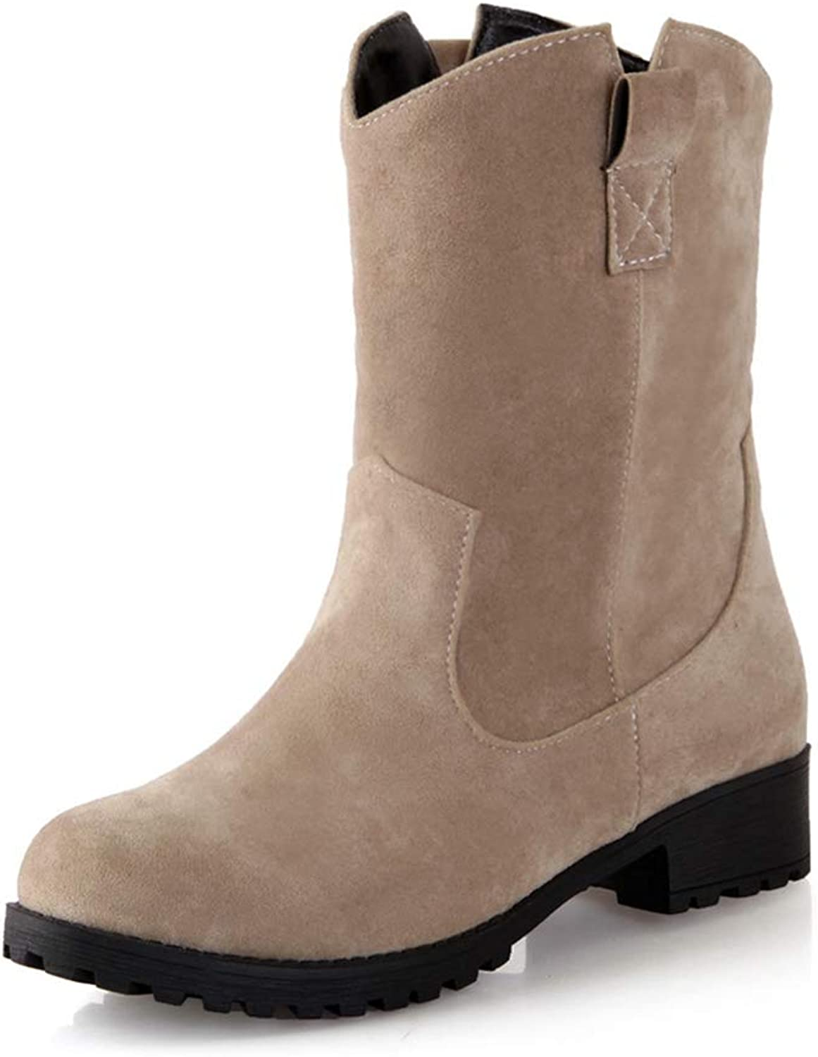 Women's Mid Calf Boots Women Warm Suede Comfort Casual shoes Antiskid Low Heels Female Snow Boot
