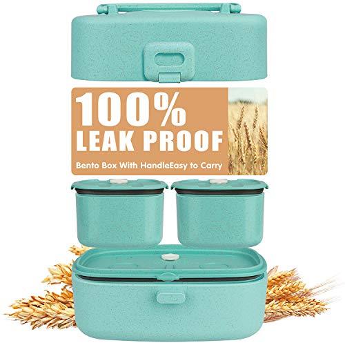 Bento Box Kinder 100% Auslaufsichere, LunchBox Kinder Aus Recycelbarem Weizenstroh, BPA-Frei,...