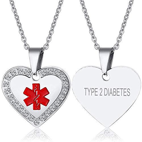 ID de Alerta médica de Emergencia Grabado Personalizado Neklace Zircon Zircon Colgante de corazón para Mujeres niñas Cadena 20 -Type_2_Diabetes