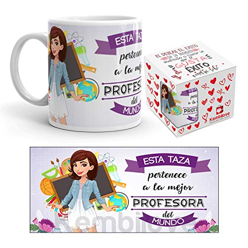 Kembilove Taza de Café de la Mejor Profesora del Mundo – Taza de Desayuno para la Oficina – Taza de Café y Té para Profesionales – Taza de Cerámica Impresa – Tazas de Jefe de 350 ml para Profesoras
