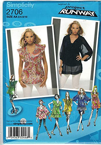 Simplicity 2706 Project Runway Sewing Pattern Tunic or Mini Dress Juniors' Size 3/4-9/10