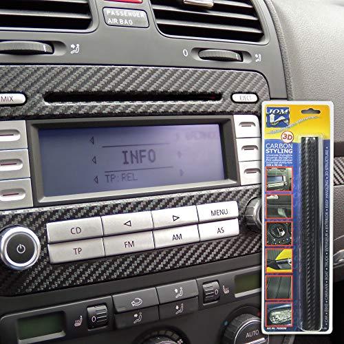 JOM Car Parts & Car Hifi GmbH 700000 Film Carbone Noir, 30 x 100 cm, Structure 3D, pour l'usage à l'intérieur Ainsi qu'à l'extérieur, Autocollant, Pet