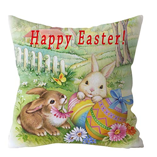 Transwen - Funda de cojín, para fiestas, para sofá, dormitorio, hogar, Pascua, conejo, K, 45 x 45 cm