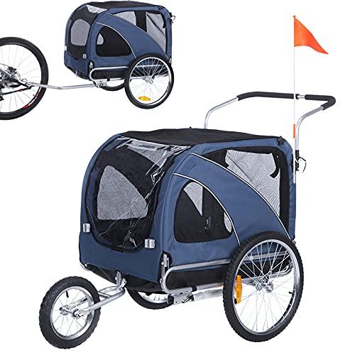 Fiximaster 10202 - Rimorchio per bicicletta per animali domestici 2 in 1 grande, colore: Blu