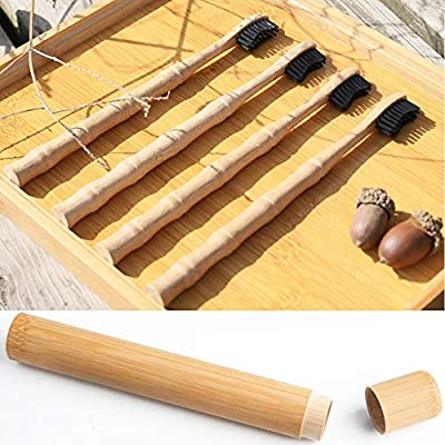 Natural Bamboo Charcoal Toothbrush Pack of 4 Toothbrushes with Eco Hand Made Travel Storage Holder