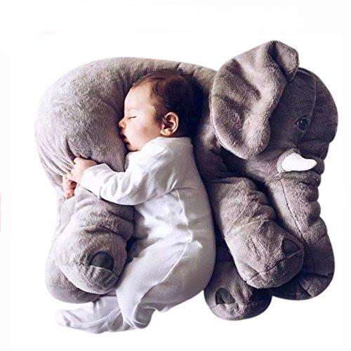 Tickos Baby Elefanten Kopfkissen Kinder Elefanten Spielzeug Plüsch Elefanten Kissen Perfekte Geschenke für Kleinkinder Neugeborene (Grau)