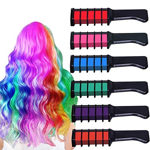 Kyerivs Haarkreide für Mädchen 6 Farben Temporäre Haarfarbe Kreide Kamm für Kinder Haare färben Party Cosplay Weihnachten Halloween Geburtstag Geschenk (Pattern C)