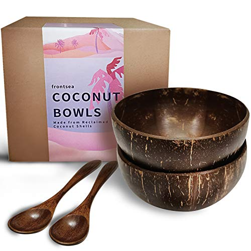 FRONTSEA Coconut Bowl and Spoon - Set of 2 | Made from 100% Natural Real Coconuts | Natural Vegan Organic Salad Smoothie Breakfast Healthy Green or Acai Bowl Tiktok Eco Friendly Kitchen … (Polished)