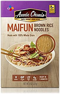Annie Chun's Brown Rice Noodles, Maifun | Vegan, 8-oz (Pack of 6) | Whole Grain | Gluten-Free Alternative to Angel Hair Pasta