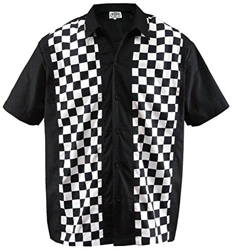 Herren Bowling Shirt Hemd Karo Check Ska Sheen Rockabilly kariert, Schwarz (XL/Xtra-Large)