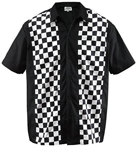 Herren Bowling Shirt Hemd Karo Check Ska Sheen Rockabilly kariert, Schwarz (M/Medium)