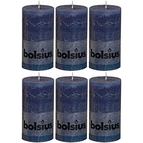 bolsius 103867590365 Rustik Stumpenkerze, 13 x 7 cm, dunkelblau (6 Stück)