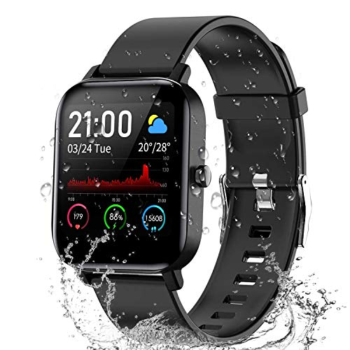 """Smart Watch, 1.4"""" TFT LCD Screen Smartwatch with Heart Rate and Sleep Monitor, IP67 Waterproof Fitness Tracker with Pedometer, Smartwatch Compatible with iOS and Android for Men, Women, Black"""