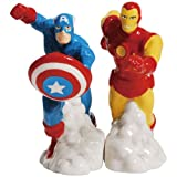 Westland Giftware Magnetic Ceramic Salt and Pepper Shaker Set, 4-Inch, Marvel Comics Captain America and Iron Man, Set of 2