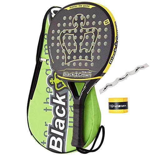 PADEL NUESTRO Pala Black Crown Revolution + Overgrip + Protector/Mejores Palas Gran Control y Potencia/Raqueta para Hombre y Mujer/Raquetas Redondas Intermedio y Avanzado
