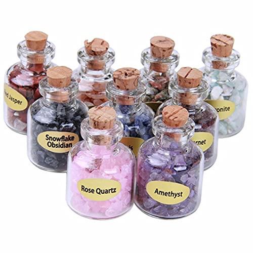 MEILUAIMU Pequeñas Botellas de Deseos de Grava de Piedra de Cristal Natural, Mini Piedras con una Caja, Regalo de cumpleaños curativo para Amigos