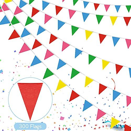 160 Metro Banderines Multicolor,300 Banderines,Banderas,Banderines Cumpleaños,Banderines de Tela,Banderines Banderas,Pancarta Guirnalda,para Exterior Jardín...