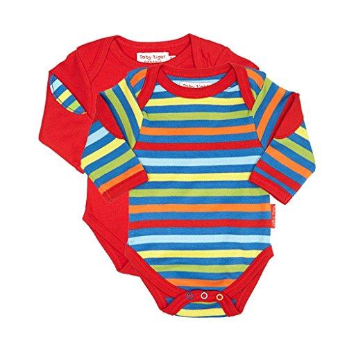 Toby Tiger Bold Stripe T-Shirt pour bébé Lot de 2 - Rouge - XS