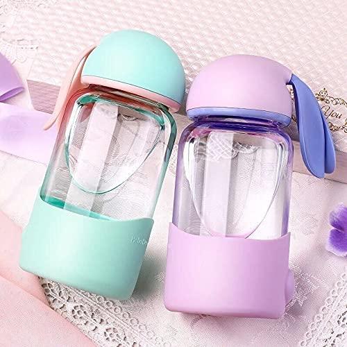 PPuujia Kawaii - Botella de agua con diseño de conejo de dibujos animados con funda de silicona para niños, estudiantes y niñas, botellas de bebida portátiles (capacidad: 301 400 ml, color: verde)