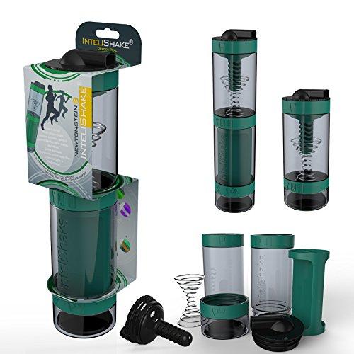 Intelishake - multi-compartiments à puce protéine / entraînement / agitateur jus bouteille (2 x 500ml) avec de l'eau du filtre de carbone pour le sport, l'exercice et la salle de gym - dragon bleu sarcelle