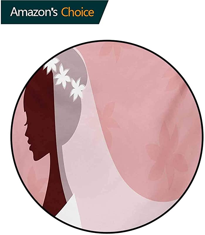 RUGSMAT Bridal Shower Non Slip Round Rugs Bride In Wedding Dress On Pink Backdrop With Veil Celebration Image Oriental Floor And Carpets Diameter 24 Inch Pale Pink And White