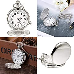 Smooth Vintage Steel Quartz Pocket Watch Classic Fob Pocket Watch with Short Chain for Men Women - Gift for Birthday Anniversary Day Christmas Fathers Day #5