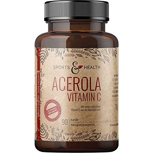 Acerola Vitamin C Mit Natürlichem Vitamin C - 750 mg Acerola pro Kapsel - 90 Veganen Kapseln Als 3 Monatsvorrat Und Ohne Zusatzstoffe