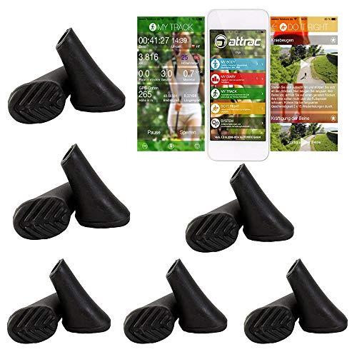 ATTRAC 12 Stück / 6 Paar Nordic Walking Pads für so gut wie alle gängigen Modelle - für Asphalt inkl. Fitness App